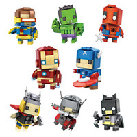Wholesale The Avengers DIY Action figures Mini Building Blocks Captain America Iron Man Batman Spiderman Assembly Toys Christmas Gift