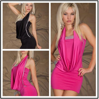 Wholesale M XXL Plus Size New Fashion Women Halter Sequined One Piece Black and Hot Pink Mini Casual Dress Women s Night Club Wear