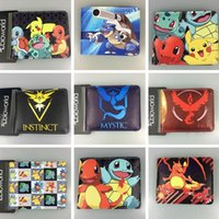 Wholesale 9 Styles Poke PU Wallets Anime Pikachu Eevee Bulbasaur Squirtle Charmander Short Wallet Cartoon Pocket Monster Purse Card Holder PPA368