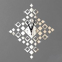 bell sticker - Imaginatively decorated bell shaped diamond classic lantern clock Mirror Wall Stickers new European and American fashion