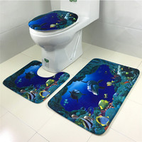 bath floors - 3pcs set Mesh Thicken Coral Fleece Floor Bath Mats Set Non Slip Bathroom Mat Set Rug For Toilet Lid Toilet Cover Carpet