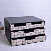 Wholesale 3 layer drawer wood structure leather desk filing cabinet storage box office organizer document container black white C