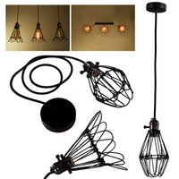 Wholesale Edison Retro Antique Vintage Home Ceiling Pendant Light Shade Durable Chandelier Cage Hanging Lampshade Black