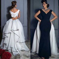 arabic shopping - Sexy Black and white Mermaid Evening Dresses V Neck Tiered Skirt Custom Made Saudi Arabic Formal Gowns Shopping Sales Online