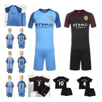 active children gifts - 2016 Manchester City kids boys best gift soccer Jerseys home away child DZEKO KUN AGUERO TOURE YAYA DE BRUYNE football shirt
