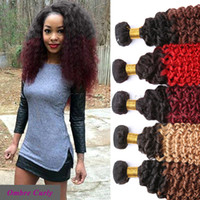 Cheap 2016 Hot Sale Ombre Hair Extensions Peruvian 7A Kinky Curly 100% Human Hair Weaves 3 Bundles Lot
