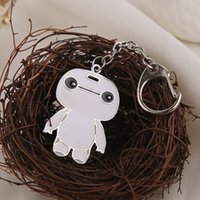 animation images - 12pcs alloy Animation Cartoon Big Hero Em up like Full length Body image white Robot Baymax key chain key ring boy y016