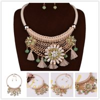 big custom jewelry - Best Sellers DIY Handwoven Necklace Earrings For Women Big Brand Long Tassel Statement Necklaces Custom Charm K Gold Jewelry Sets