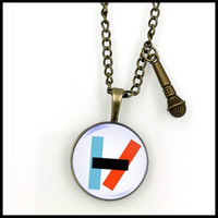 alternative necklaces - twenty one pilots alternative band blurryface microphone necklace glass cabcochon pendant new drop shipping NW2080