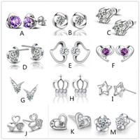 Wholesale Mix style silver plated earrings natural crystal fashion small silver jewelry for women heart crown stud earrings
