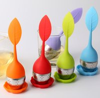 Wholesale Tea Infuser Silicone Leaf Strainer Handle with Steel Ball