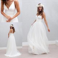 Wholesale Samples Neck Beads - Marie laporte Sample Sexy Spaghetti Beach Wedding Dresses 2016 Custom Make Deep V-neck Backless Long Cheap Bridal Wedding Gown