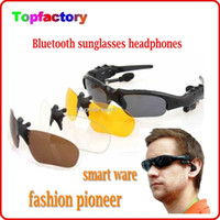 Wholesale Wireless Bluetooth V4 Sunglasses Headset smart glasses Stereo Sports Headphone Handsfree Earphones Music Player for iPhone Samsung HTC