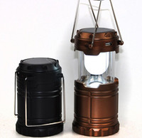 Wholesale DHL Foldable Led Rechargeable Solar Powered Camping Lanterns Tent Lamps Collapses Lights With Mobile Phone Charger