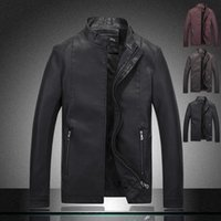 Wholesale Fall Brand Motorcycle Leather Jacket solid Men Autumn and Winter Man pu Leather Jackets Jaqueta Couro Masculina Jaqueta De Couro