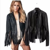 Wholesale Low price Leather Tassel motorcycle leather Handsome jacket frock Jacket Outwear Top Black Grown Leather Suede