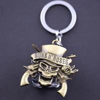 band keyrings - 10pcs GUNS N ROSES Band Skull Pendant Keychains Retro Alloy Key Rings Keychain Keyrings Hot Sale Jewelry