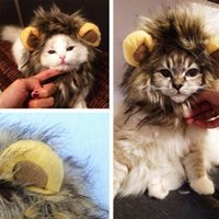 Wholesale Pet Cat Dog Wig Emulation Lion Hair Mane Ears Head Cap Autumn Winter Dress Up Costume Muffler Scarf