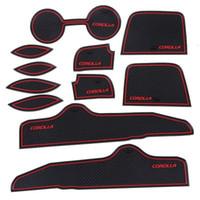 Wholesale 11pcs Auto Car Accessories Interior Door Rubber Non slip Cup Mat Holder Gate Slot Pad for Toyota Corolla