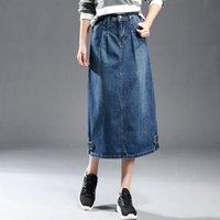 Moda Mujer Denim falda Señora A-Line de alta cintura Jean media falda Vintage bolsillos señoras Jean faldas más tamaño XS-6XL XA0305