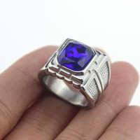 Wholesale Cool Men s Silver Ring Sapphire Blue Gemstone L Stainless Steel Ring Gift Men s Jewelry