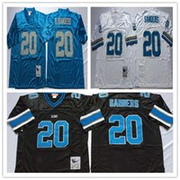 barry sanders jerseys - Throwback Detriot Barry Sanders White Black Light Blue Retro Home Away Stitched Vintage Football Jerseys