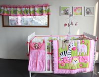 baby nursery curtains - 9 PiecesCrib Bedding Baby Bedding Set Sweet Pink zoo Baby Nursery Crib Bumper Quilt Fitted Sheet Window curtain