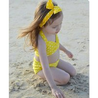 Wholesale 2016 Yellow Cute Children Swimming Suit Girl Butterfly Two Pieces Child Swim Suit In Stock Swim Wear MC0035