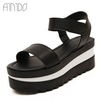 Wholesale New Women Flats Shoes Wedges Platform Sandals cm High Heels Black White Fashion Pumps