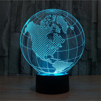acrylic sphere - Color Changing D Optical Illusion Sphere Light Terrestrial Globe Lights Acrylic LED Atmosphere Night Light Beside Lamps With USB Cable