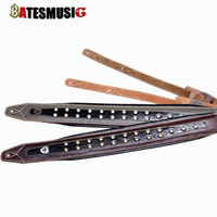 Wholesale New handmade leather guitar strap electric guitar bass straps crafted Dark Brown genuine Leather fashion design
