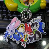 Wholesale Zootopia Figures Keychain Ring Toys Judy Hopps PVC Keychain Nick Wilde Toy Best Gifts For Kids Pendants Sponge Stuffed Two sided LC338