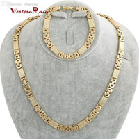 Wholesale WesternRain New Arrival Top Quality Dubai Gold Jewelry Men s Necklace And Bracelet Set Stainless Steel Jewelry