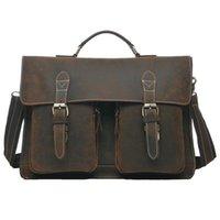 Wholesale Vintage Brown Crazy Horse Genuine Leather Men s Briefcase Men Messenger Bags Cowhide Portfolio Laptop Bag
