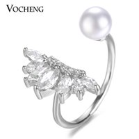 Wholesale VOCHENG Water Drop CZ Stone Pearl Ring for Women Free Size Brass Metal Colors Plating Fashion Jewelry VR