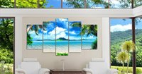 abstract sea paintings - Framed Panel Wall Art Oil Painting On Canvas blue sky and white clouds sea Paintings Pictures Decor painting large living room
