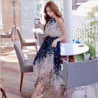Wholesale Summer new women s bohemian dress strapless chiffon halter dress
