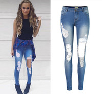Wholesale 2016 Casual distressesed bleached tassels mid waisted full length pencil jeans jegging trousers pants leggings plus size women