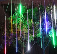 Wholesale Star Wedding Led Lights - 2015 20CM 30CM 50CM Meteor Shower Rain Tubes LED Mini Meteor Lights LED Strings Light 8pcs LED Light For Christmas Wedding Garden Decoration