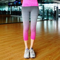 wholesale yoga pants - High Elastic Women s Sports Yoga Pants High Waist Fitness Leggings For Girl Modal Running Ninth Pants For Girl