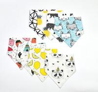 baby girl pinafore - 12 Design Baby INS Fox Panda Lemon Bibs Infant Burp Cloths Full Cotton Boys Girls Cute Pinafore Baby Kids Feeding Triangular Bandage