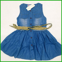american fasteners - denim girls dresses new fashion fastener blue jeans vestidos children girls clothing outfits with belt pocket carpy style factory price
