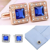 Wholesale 6Pairs Gold Blue Square Crystal Cufflinks Rhinestone Men s Wedding Gift Cuff Links New Style Square Male Fashion Cufflinks