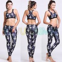Wholesale YIWU LAIMAI Women s Yoga sets Black White Cross Designer Running Fitness Leggings yoga leggins