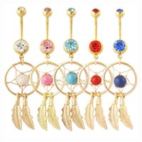 Wholesale Dream Catcher Double Crystal Diamond Stainless Steel Belly Navel Rings Bars Body Piercing Belly Button Rings for Women Fashion Jewelry