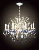adjustable candle iron - AC100 V cm E14 candle Iron lights Blue crystal chandelier lamps fixtures adjustable pendant chain luminaria lustre
