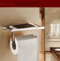 Wholesale 1PCS Stainless Steel Bathroom Paper Phone Holder With Shelf Bathroom Phones Towel Rack Toilet Paper Holder Tissue Boxes