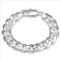 12M Flat Sideways Bracelet Silver Snack Charm Chaîne Chain Link Bracelet Placage Argent 925 Infinity Bracelets Bracelets Accessoires Bijoux