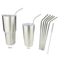 Wholesale 8 inch Yeti Cups Stainless Steel Straws Brushs Clear Lids Accessories Single piece Straws bent straight Yeti Rambler Tumbler Straw