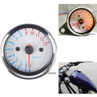 Wholesale Universal Blue LED light Motorcycle Silver Metal Tachometer Speedometer Gauge